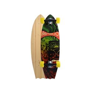 Bamboo Skateboard rasta tiki - Bat Tail Longboard