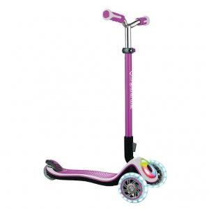Scooter Globber Elite Prime rosa con iluminación en ruedas y base