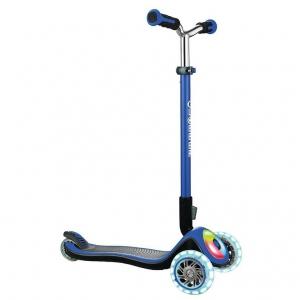 Scooter Globber Elite Prime azul marino con luces en ruedas y base