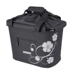 Bolsa manillar BlueBird negra con flores